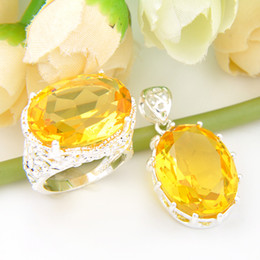 Wholesale Oval Yellow Engagement Rings - Luckyshine 3set lot Christmas 925 sterling silver Honey oval-shaped light yellow rings and pendant crystal Ring for lady