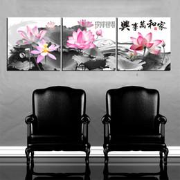Orchidee arancioni online-Unframed 3 Pieces Spedizione gratuita art picture Stampe su tela Lotus leaf rose Sunflower Basket peony orchid orange fish caratteri cinesi poesia