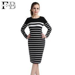 Wholesale White Knee Lenght Dresses - 2016 New Fashion Women Elegant Black And White Striped Dress Long Sleeve Knee-Lenght O-Neck Work Sheath Boycon Stretch Dress