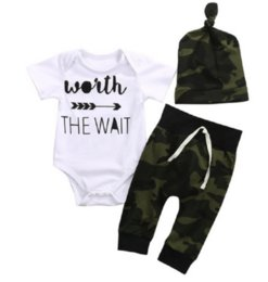 Wholesale Children Costumes Boys - Newborn Baby Boys Clothing Set Romper+Camouflage Herm Pants+Hats Toddler Outfit Infant Boutique Clothes Kids Fall Costume Children Pajamas