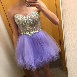 Wholesale Sweetheart Mini Puffy - Short Purple Puffy A Line Homecoming Prom Dresses Sweet 16 Girls Sweetheart Tulle 2016 Cheap Dress Graduation Gown