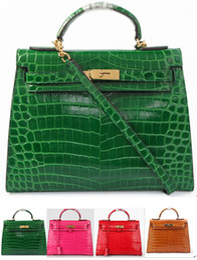 Wholesale Star Crocodile Purse - 1:1 Top Quality Togo Epsom Leather Bag Leather Dark green Shiny crocodile leather 32cm Tote Bag Purse Outside Claf Inside Lambskin