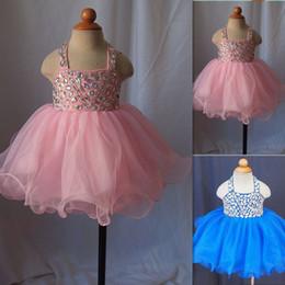 Toddler Pageant Robes Pour Filles Cristal Perlé Halter Cou Petite Fille Robes De Bal De Tulle Cupcake Rose Enfants Robe De Fête D'anniversaire 2016 ? partir de fabricateur