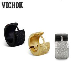Wholesale Man Earrings Black - Sand Surface Hoop Earrings 316L Stainless Steel Earrings Fashion Jewelry Silver Gold Black 3Colors Minimalism Style For Men Women VICHOK