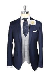 Wholesale Men S Ties Navy White - 2016 Custom Made Navy Blue Tuxedos Wool British style Mens suit slim fit Blazer wedding suits for men suit(Jacket+Pants+Tie)