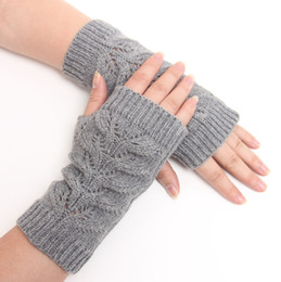 Wholesale Long Fashion Gloves Women - Winter Unisex Arm Warmer Elbow Long Fingerless Mitten Knitted Soft Gloves free shipping in stock