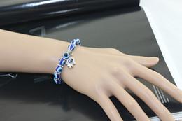 Wholesale Evil Eye Silver Charm - New Retro Unisex Jewelry Hamsa Fatima Hand Evil Eye charm bracelet handmade beads elastic bracelet free shipping