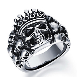 Wholesale Online Sterling Silver - Fashion Day Jewelry online sterling silver jewelry punk biker rings stainless steel skull ring Polished Rock Gothic Jewelry Rings