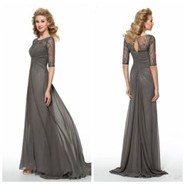 Wholesale Grey Sequined Evening Dress - Modest 2017 Chiffon Grey Mother Formal Wedding Party Wear Beading Sequined Sweep Train Half Sleeves Bridal Mother Dress Evening Gowns