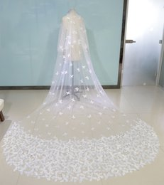 Wholesale Wedding Veils Butterflies - Luxury Butterfly Bridal Veils Cathedral Length Long Two Layer Custom Made Wedding Veils With Free Comb Real Image