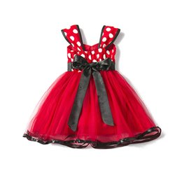 Wholesale Toddler Pageant Wear Christmas - Toddler Girl Baby Flower Princess Pageant dot printing TuTu Fluffy Pettiskirt Wedding Party Formal Birthday Skirt Party Gown Dance wear Red