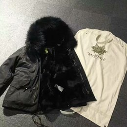 Wholesale Mr Natural - qltrade_2 Mr & Mrs Italy fox fur lined parka with raccoon fur trimmed Black fur black parka snow fur canvas jackets