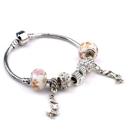 Wholesale Mermaid Clasp - Hot European Style Charm Mermaid Bead Bracelets Fashion DIY 18K White Plated Silver Bangle Jewelry Romantic Valentine's Day Christmas Gift
