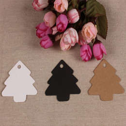 Wholesale Wholesale Note Cards Blank - 5.5*5.4cm Christmas Tree Shaped DIY Blank Price Gift Tags Marked Word Cards Kraft Paper Hang Label Party Wedding Note 100Pcs Lot