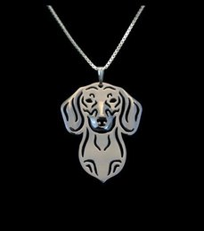 Wholesale Dachshund Pendant - Wholesale- Boho Chic Alloy Dachshund necklace fashion cartoon dog pendant Silver gold two colors plated