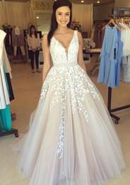 Wholesale New Unique Design Neck - 2017 New A-line Wedding Dresses Unique Design Lace Appliques Beaded Belt Backless Floor Length Summer Beach Bridal Gowns