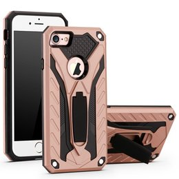 Wholesale Wholesalers Cellphone Case - For iPhone X phone case hybrid armor shockproof cellphone case with kickstand for 7Plus 7 8 Samsung Note8 S8 S7 edge plus