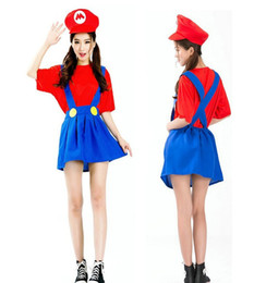 Wholesale Japanese Cosplay Costumes For Women - Women girls Super Mario Luigi Plumber Bros Costume Halloween super Mario game animation Mario overall modelling cosplay uniform for women
