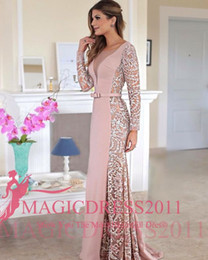 Wholesale Long Dusty Rose Dress - Gorgeous Dusty Rose Evening Celebrity Dresses Embroidery Custom Made Long Lace Sleeve Formal Party Wear Mermaid Plunging V Neck Arabic Gowns