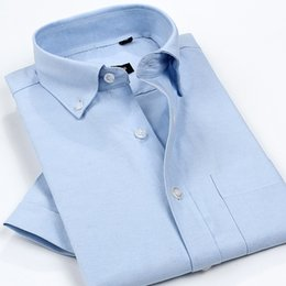Wholesale Dress Shirt For Men Oxford - Wholesale-Summer Style Oxford Cotton Shirt Men High Quality Men's Non-Iron Oxford Shirts Solid Short Sleeve Casual Shirt Work Wear For Man