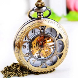 Wholesale Manual Pocket Watch - Vintage mechanical pocket watch, male and female students retro mechanical carved manual Bracelet 2017new style Christmas present.
