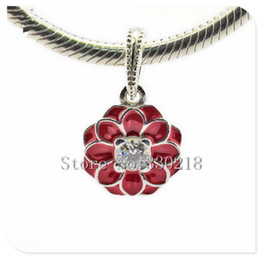 Wholesale Sterling Silver Hang Charms - Fits Pandora Bracelets Oriental Bloom Hanging Silver Beads 2016 Summer Style 100% 925 Sterling Silver Charms DIY Women Jewelry wholesale
