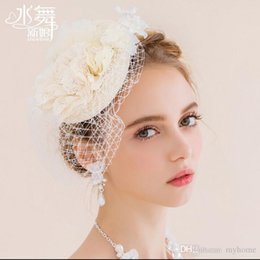 Wholesale White Mini Top Hats - New Fashion Fascinators Mini Top Hat Hair lace Hat Wedding Party Hair Accessories Two color Choose Best Selling