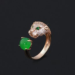 Wholesale Diamond Head Set - luxury zircon leopard head diamond rings inlaid green stone women's rings for party birthday gift