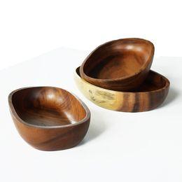 Wholesale Wood Salad - Oval Salad Plates 26.5*18*4.5cm Robinia Wood Fruit Dishes Handmade Woodware Korea Style Tableware MOQ:5Piece