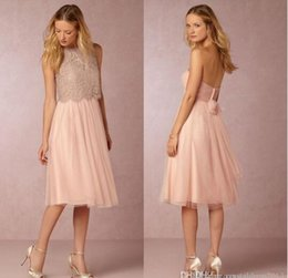 Wholesale Tulle Cocktail Wedding Dress - New Design Two Pieces Blush Pink Bridesmaid Dresses Lace Crop Tulle Knee Length Cocktail Gowns Short Beach Maid of Honor Wedding Dresses