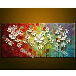 Elegant Modern Simple Flowers Canvas Painting Pure Hand Painted Oil Home Living Room Wall Art Decoration