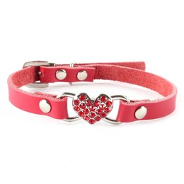 Wholesale Dog Harness Letters - Hot Small Pet Dog PU Leather Collar Cat Puppy Love Heart Diamond Neck Strap Pet Dog Collar