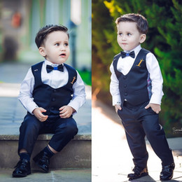 Wholesale Boys Suits Wedding Gold - Wedding Events The boy gentleman suit Three Pieces Peaked Lapel Boys Suits Tie Sale Custom Made Formal Boy's Wear