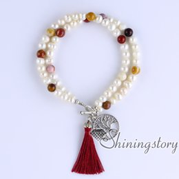 cultured pearls strands UK - cultured freshwater pearl bracelet tree of life charm bracelet yoga jewelry boho jewelry wholesale boho bracelets wholesale boho jewelry