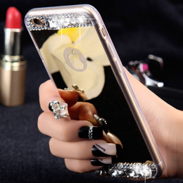 Wholesale Luxury Handmade Iphone Case - Luxury Diamond Mirror Case For iPhone 6 6s   Plus   5 5s Handmade Rhinestone Crystal Soft TPU Frame Cover for Iphone6 s Plus