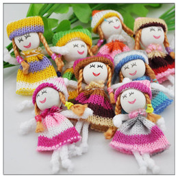Wholesale Mobile Phone Hanging Doll - Girl Doll Crochet Appliques Wedding Decor Craft Mix DIY Jewelry Doll Mobile Phone Hang Act The Role Offing Wool Doll Mini Sex Doll