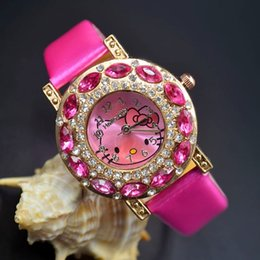 Wholesale Girl Hello - Cute Children students Girl Hello kitty KT cat style Leather strap Big crystal Quartz Wrist Watch