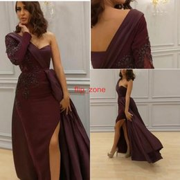 Wholesale Evenig Long Dress - 2017 Arabic Sexy Formal Evenig Dresses Burgundy Custom Made One Shoulder Long Sleeves Slit Dresses Party Evening Plus Size Vestidos De Novia