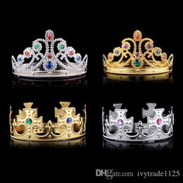 Wholesale kids hair style crown - 4 styles Christmas girl boy Cosplay King and Queen hairbands with crystals gold silver kids Christmas Cosplay Crown Hair Accessory