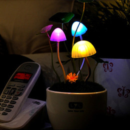 Wholesale Night Lamp Ceramic Wholesale - New Energy Saving Ceramic Colorful LED Mushroom Night Light Bed Lamp Home New