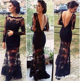 Wholesale Mini Quinceanera Dresses - 2016 Sexy Womans long Sleeve lace backless Evening Party Mini Dress Black