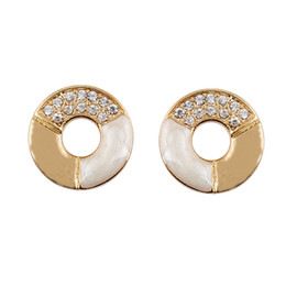 Wholesale Point Drill - Stud Earrings Korean Version of the Popular Full Costume Jewelry Earrings Round Earring Point Drill Oil Painting !