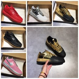 Wholesale A1 Rubber - New Real leather Lunar air 1 Duckboot Men's Sneaker High cut Skateboard shoes Walking Outdoor Sports Shoes Jogging A1 Shoes36-45