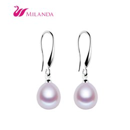 Wholesale Earring Purple - Milanda Freshwater Cultured Pearl Wholesale 3 Colors White Pink Purple Pearl Fashion Hook 8-9 mm Pearl Earrings Jewelry Gift