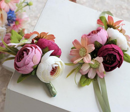 Wholesale Silk Wedding Bridesmaid Bouquets - Wedding Corsage Hand flower Corsages In Stock Cheap Wedding Bouquets Wrist Flowers For Bridesmaid Girls Wholesale