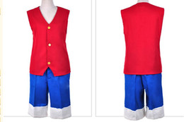Costumi scimmia d luffy online-Costume anime giapponese ONE PIECE Cosplay Monkey D. Luffy Costume Top rosso + pantaloni blu per set