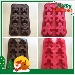 Wholesale Handmade People - Wholesale Christmas Ginger people kitchen baking molds for handmade cake chocolate ice soap candy pudding mousse bread bakeware suppies