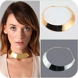 Wholesale Geometric Choker Necklace - statement necklaces Punk Women Gold Silver Plated Chokers Jewelry Brand New Fashion Alloy Geometric Clavicle Chain Necklaces Wholesale SN286
