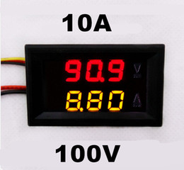Wholesale Display Tester - Wholesale-DC 0-100V 0-10A car Voltmeter Ammeter tester Panel LED Dual Display five wires Current Voltage Monitor Volt Amp meter