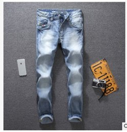 Wholesale Hot Micro Pants - 2017 hot sale Tide hole men's jeans light blue washed micro-elastic Slim small straight cow Slim Pants skinnyjeans for men biker jeansblue